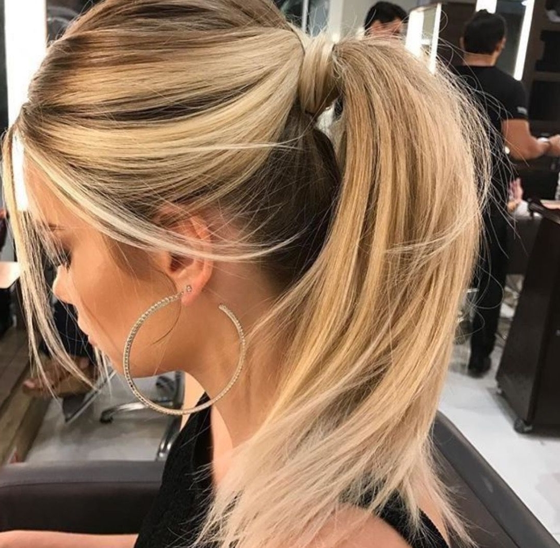 Most Popular Intricate Updo Ponytail Hairstyles For Highlighted Hair Pertaining To Obsessed With These Bright Blonde Highlights And This Glam High (View 4 of 20)