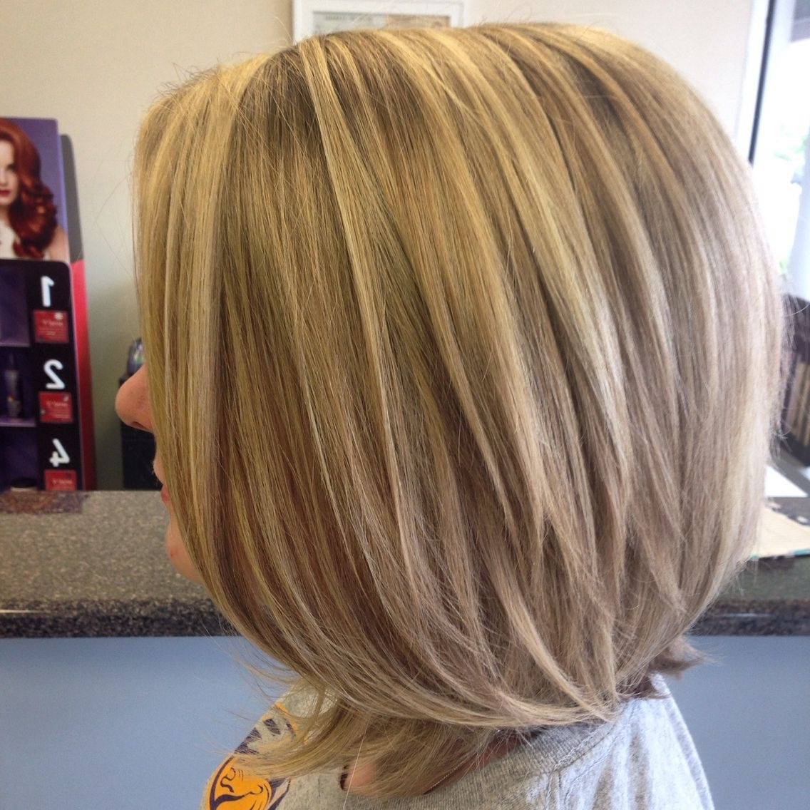 Most Popular Long Bob Blonde Hairstyles With Babylights In Dark Blonde Hair With Highlights. Long Bob Haircut (View 12 of 20)