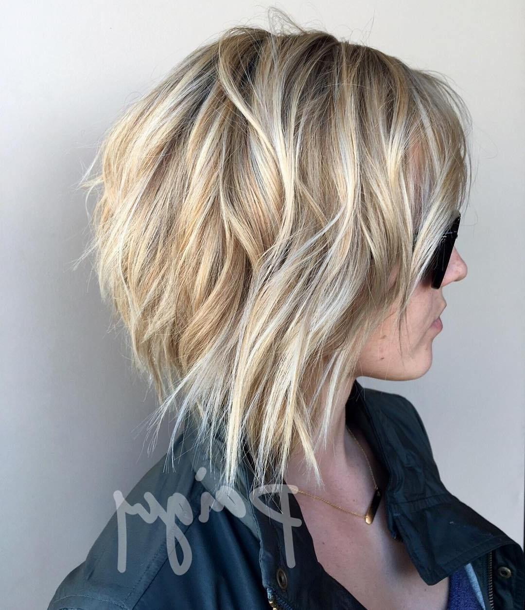 Most Popular Messy Blonde Lob With Lowlights Throughout 70 Fabulous Choppy Bob Hairstyles (View 13 of 20)
