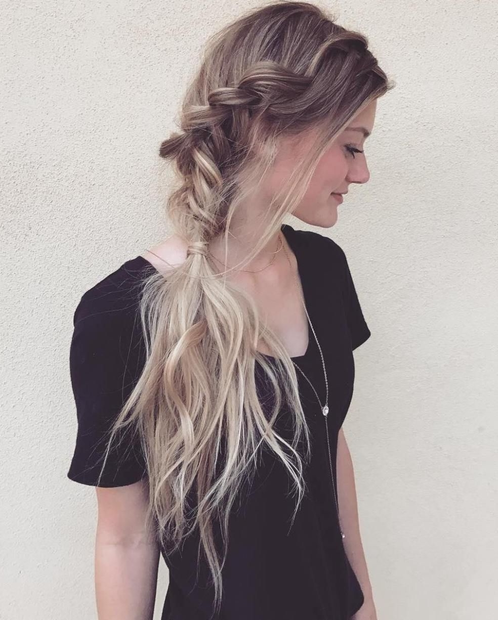 Most Popular Messy Ponytail Hairstyles With Side Dutch Braid Intended For Braided Ponytail Ideas: 40 Cute Ponytails With Braids (View 15 of 20)