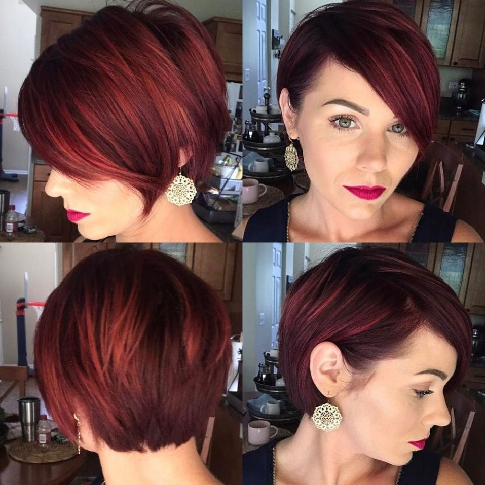 Featured Photo of Reddish Brown Layered Pixie Bob Hairstyles