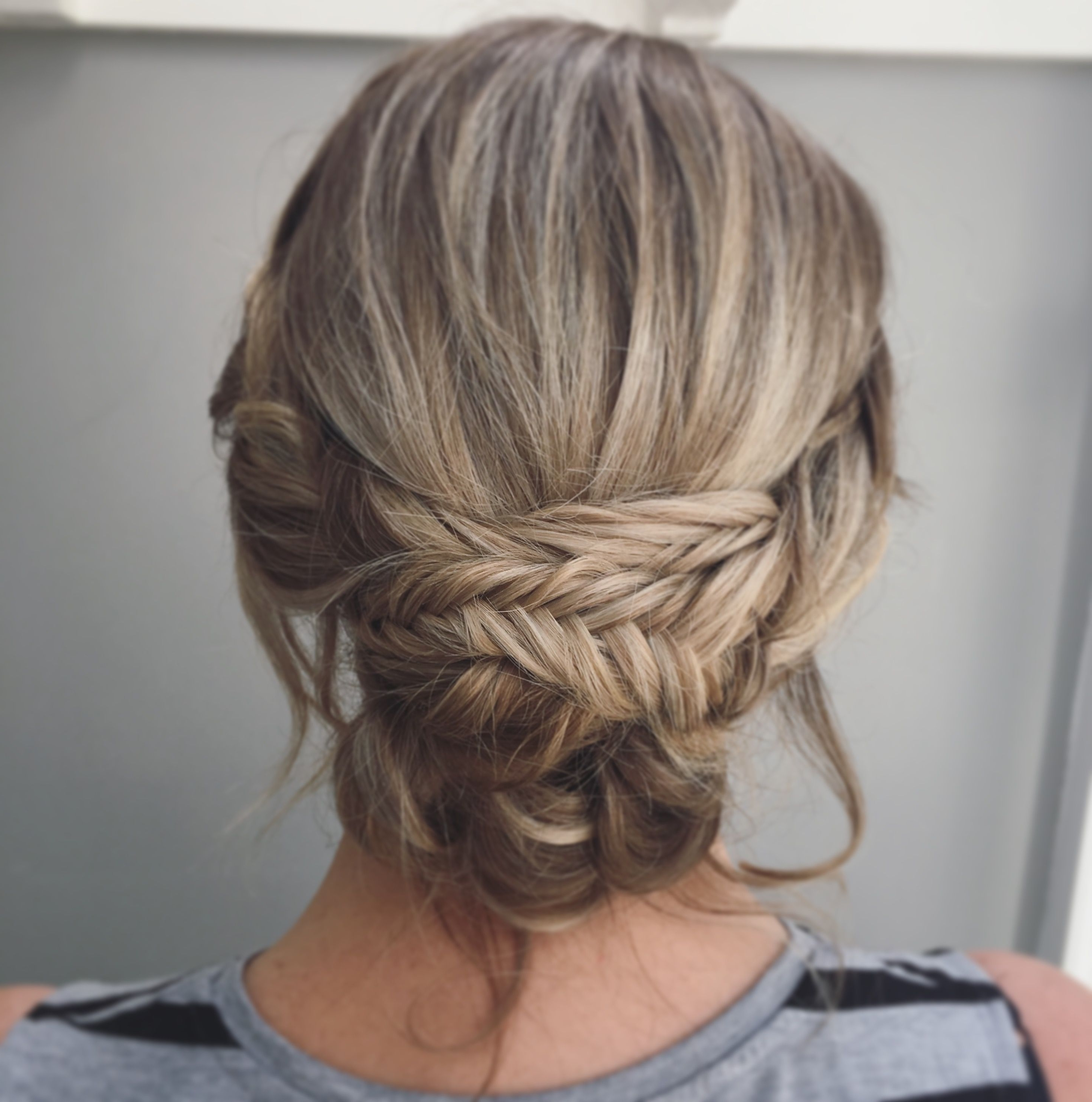 Most Popular Romantically Messy Ponytail Hairstyles Throughout Boho Wedding Hair, A Messy Relaxed Bridal Updo With Fishtail Braids (View 11 of 20)