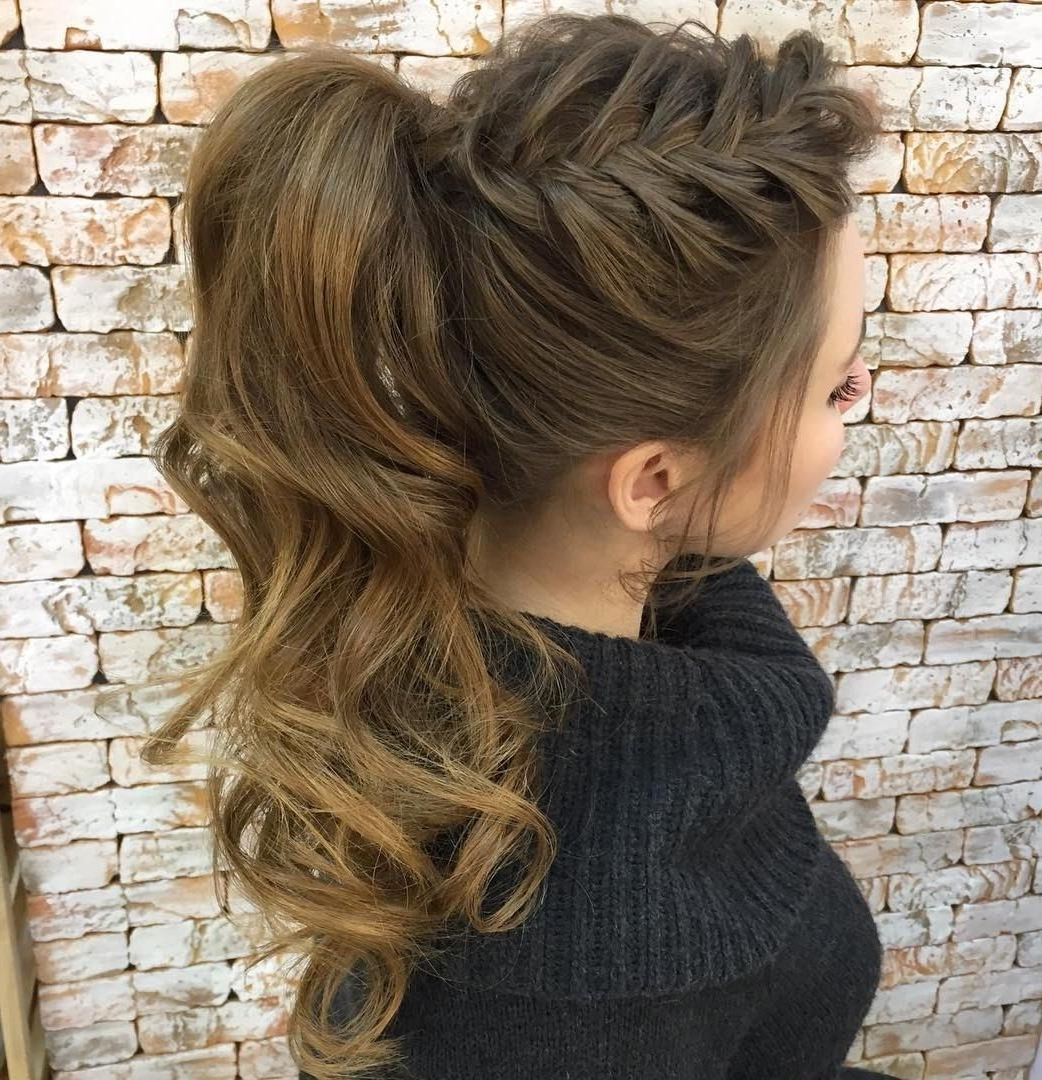Most Popular Side Pony Hairstyles With Fishbraids And Long Bangs In Ponytail Hairstyles For Curly Hair (View 12 of 20)