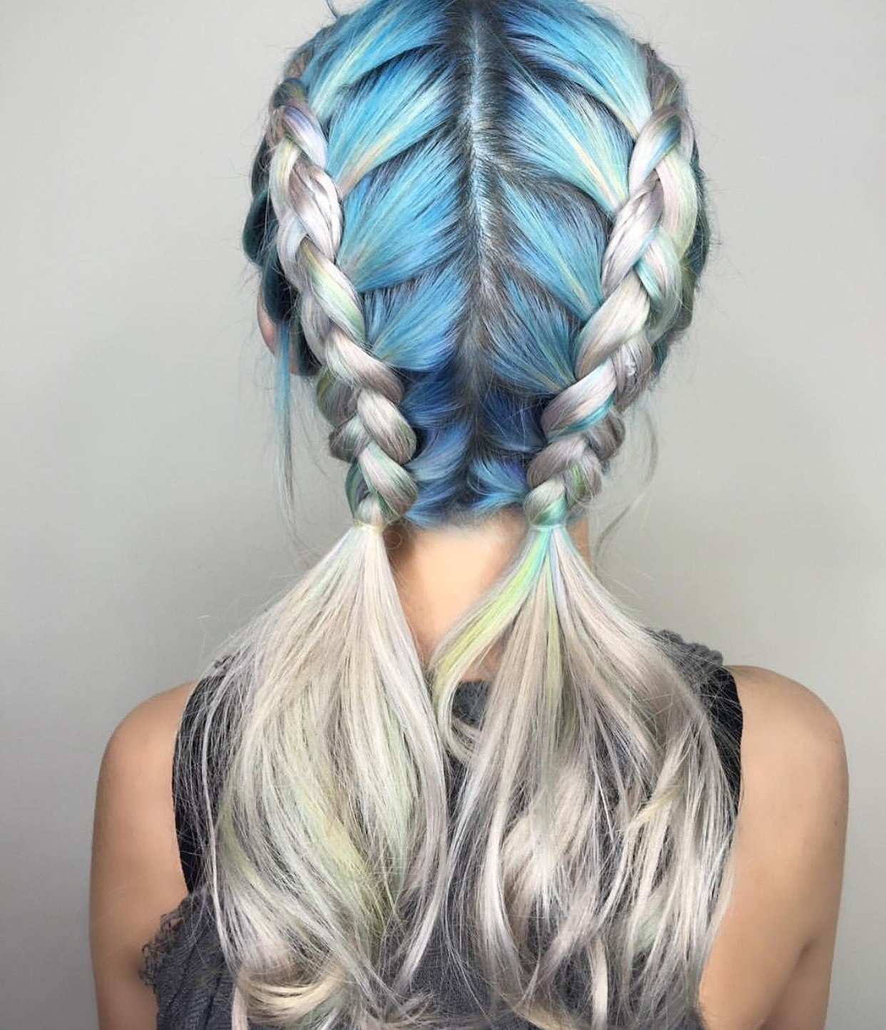 Most Recent Double Floating Braid Hairstyles With Metallic Blue And Silver Hair Color Design Dressed In Double Dutch (View 14 of 20)