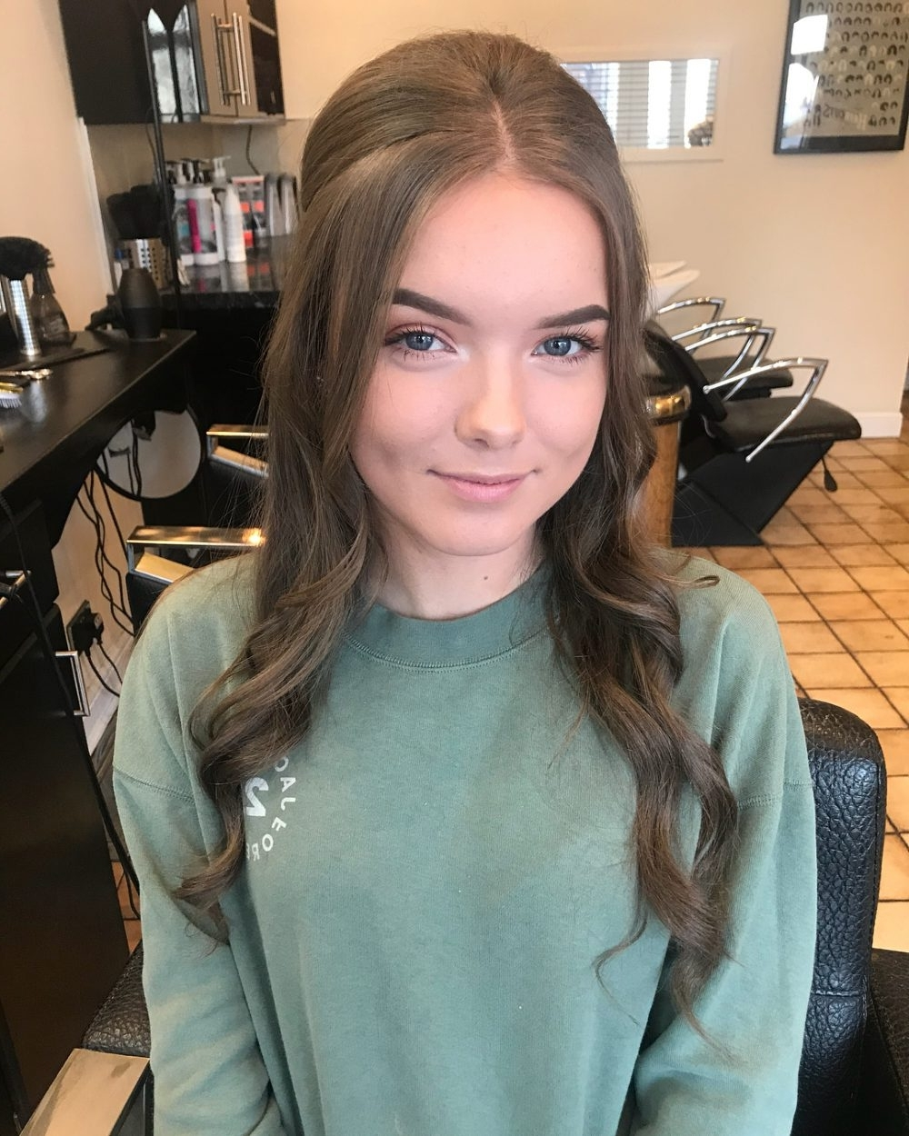Most Recent Half Pony Hairstyles With Parted Bangs Within 28 Super Easy Prom Hairstyles To Try (View 13 of 20)