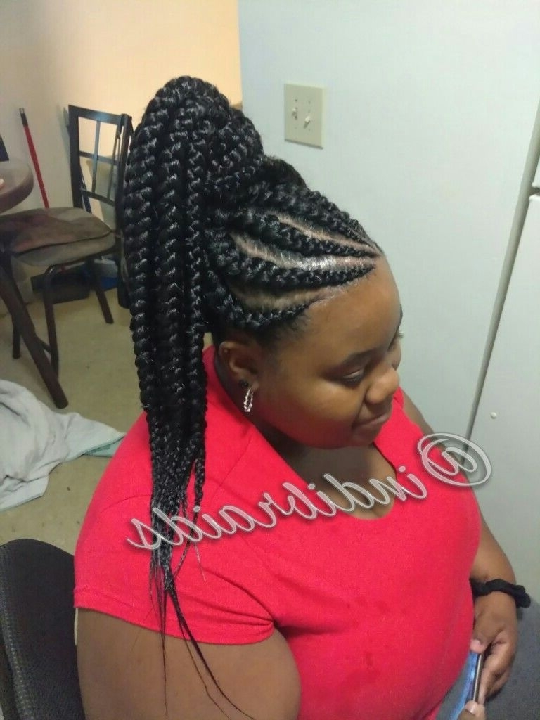Most Recent High Ponytail Hairstyles With Long Golden Coils Within Pin@indibraidsnstyles On Feed In Cornrows In High Ponytail (View 6 of 20)