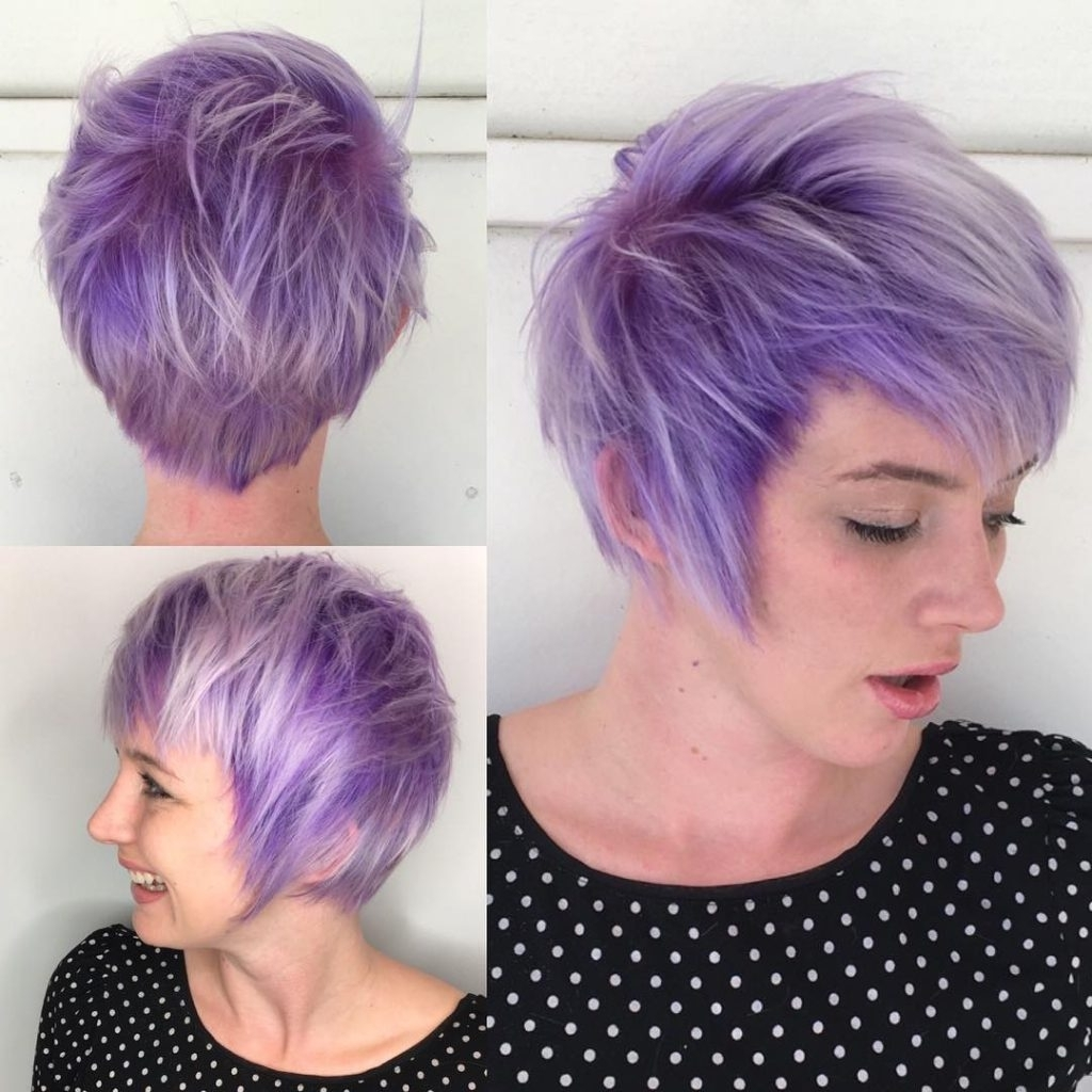 Most Recent Lavender Pixie Bob Hairstyles Within Women's Purple Shaggy Fringe Pixie With Platinum Highlights Short (View 3 of 20)