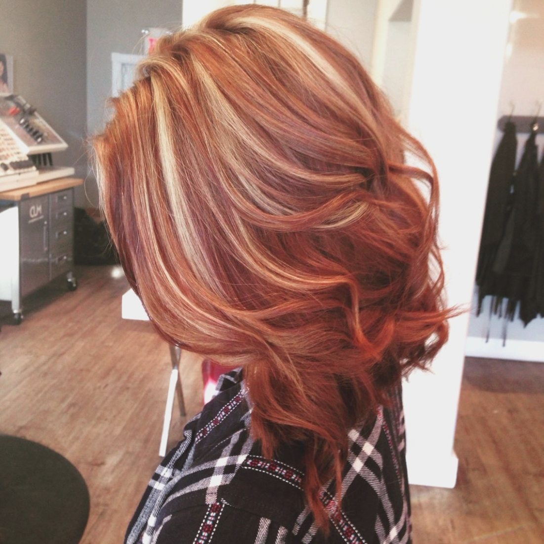 Most Recent Light Copper Hairstyles With Blonde Babylights Within Beautiful Copper Lob With Blonde Highlights. Hair. (View 10 of 20)
