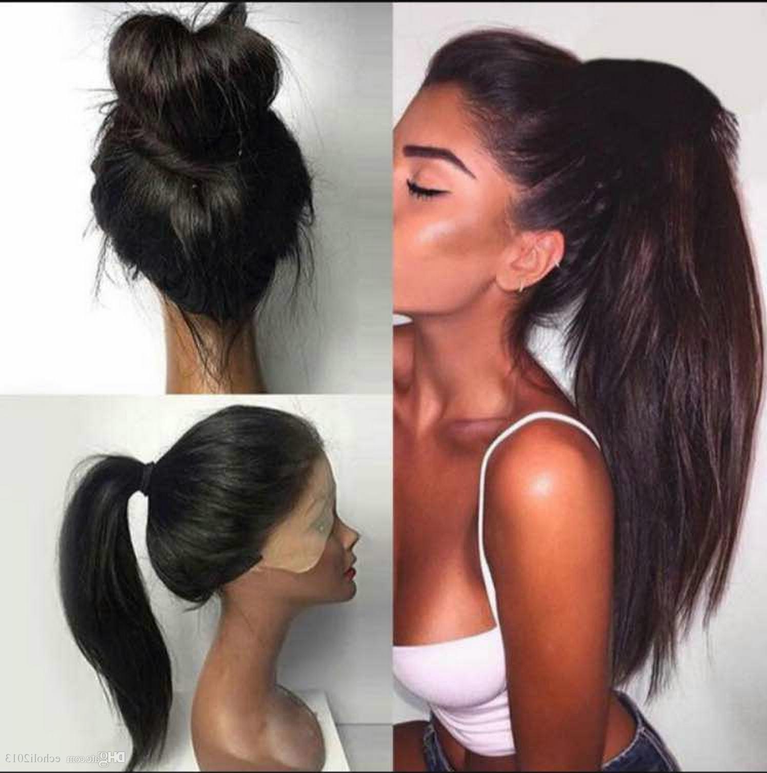 Most Recent Long And Sleek Black Ponytail Hairstyles With Regard To Echo Long Sleek Ponytail Human Hair Women Straight Clip (View 10 of 20)