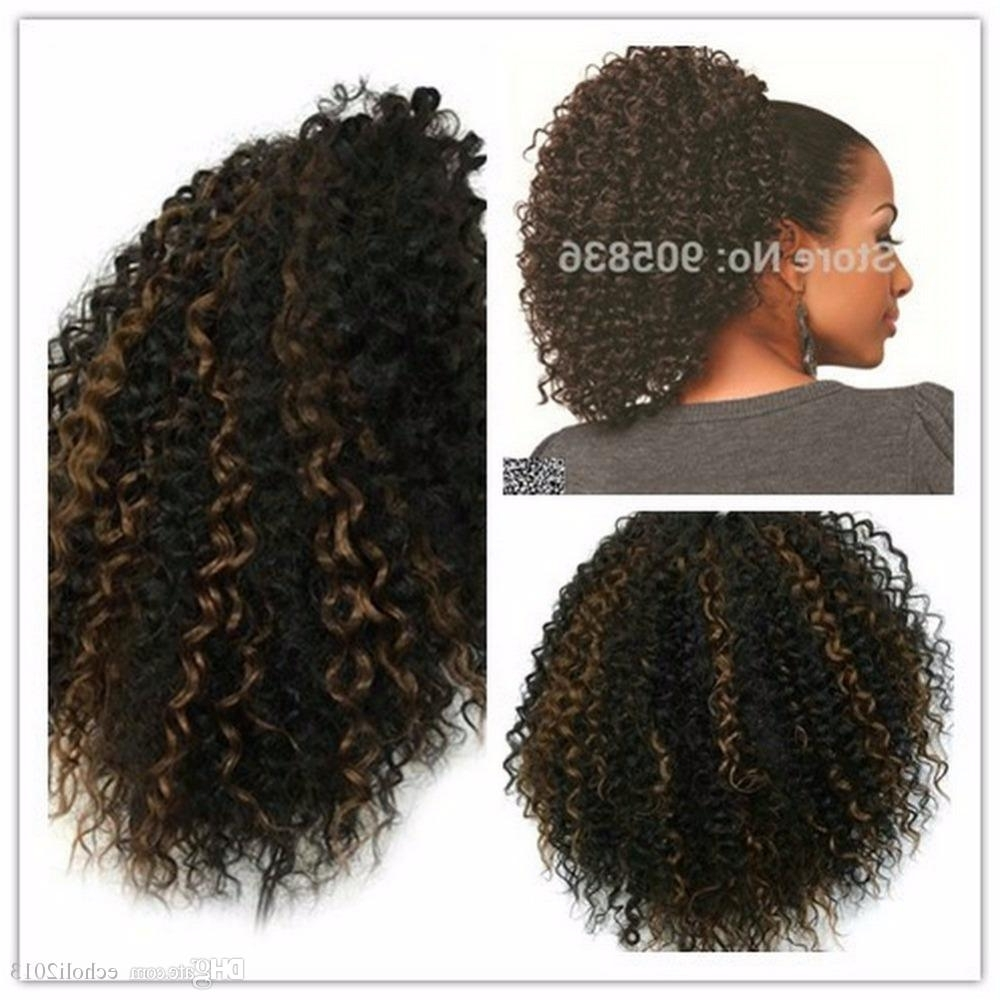 Most Recent Ombre Curly Ponytail Hairstyles Regarding Fashion Short High Kinky Curly Ponytails Drawstring African American (View 10 of 20)