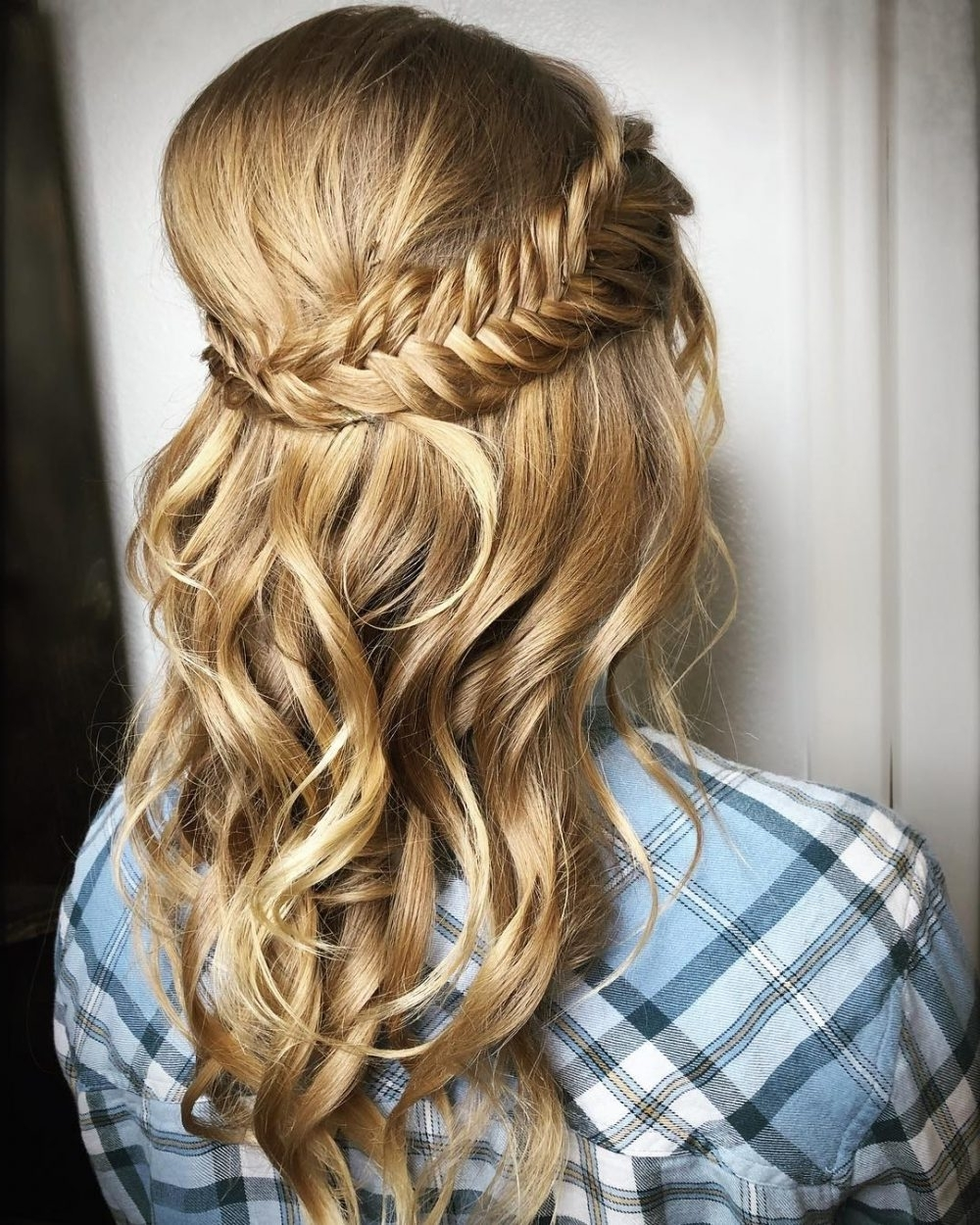 Most Recent Polished Upbraid Hairstyles With Regard To Half Up Half Down Prom Hairstyles – Pictures And How To's (View 11 of 20)