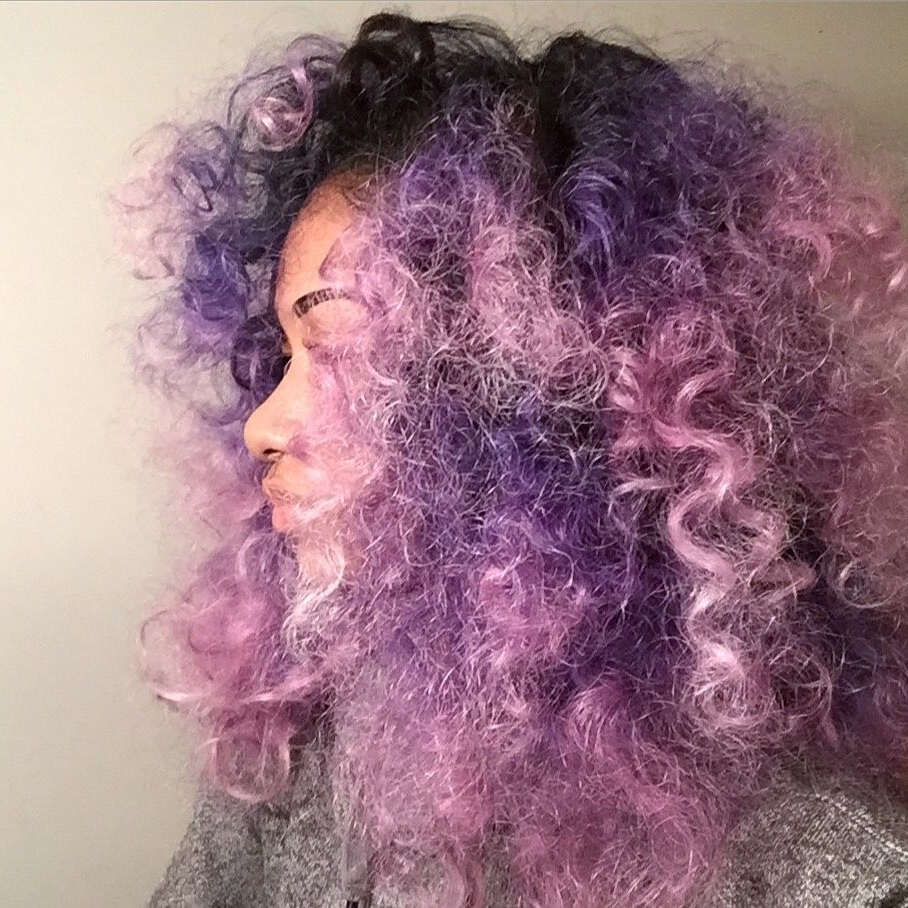 Most Recent Voluminous Platinum And Purple Curls Blonde Hairstyles Within 25 Colored Natural Hair Styles – Dyed Natural Hair Photo Gallery (View 14 of 20)