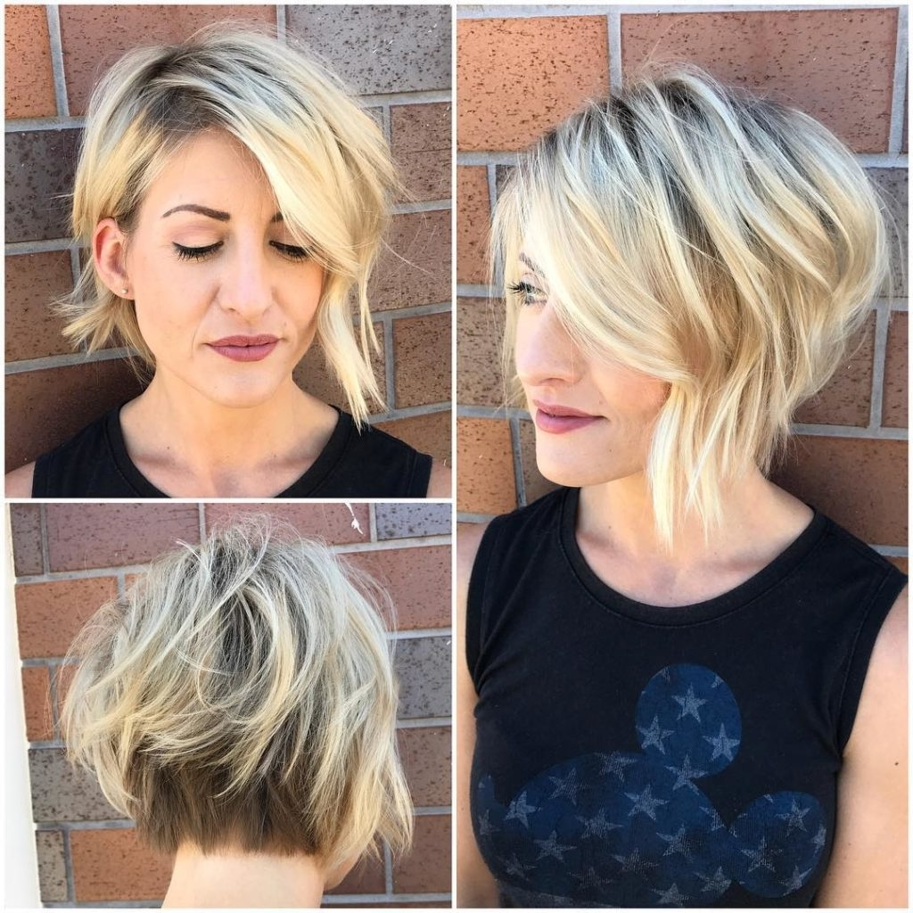 Most Recently Released Blonde Lob Hairstyles With Sweeping Bangs Regarding Women's Inverted Blonde Textured Bob With Side Swept Bangs And (View 14 of 20)