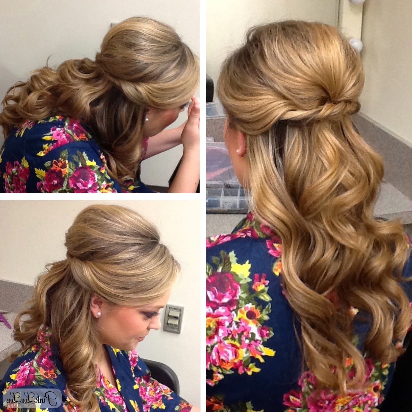 Most Recently Released Half Updo Blonde Hairstyles With Bouffant For Thick Hair Throughout Half Up/half Down Evening Hairstyle, Found On Www (View 9 of 20)