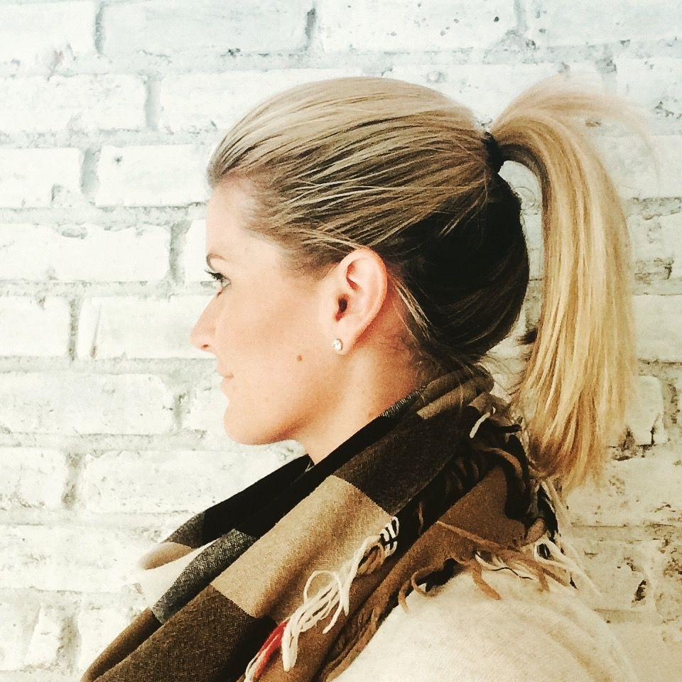 Most Recently Released High And Glossy Brown Blonde Pony Hairstyles In High Ponytail (ombré Look – Dark Underneath Blonde On Top (View 11 of 20)