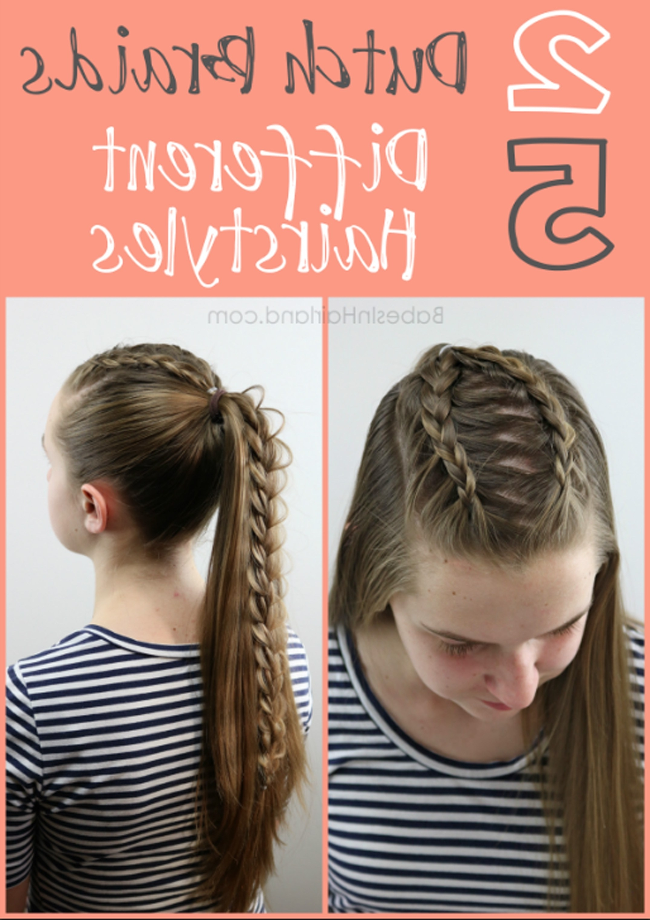 Most Recently Released High Braided Pony Hairstyles With Peek A Boo Bangs Intended For 2 Dutch Braids 5 Different Hairstyles (View 12 of 20)