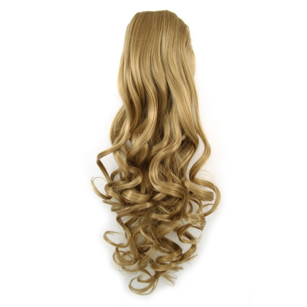 Most Recently Released Lustrous Blonde Updo Ponytail Hairstyles Regarding 14 Inch Lustrous Drawstring Human Hair Ponytail Golden Curly And (View 15 of 20)