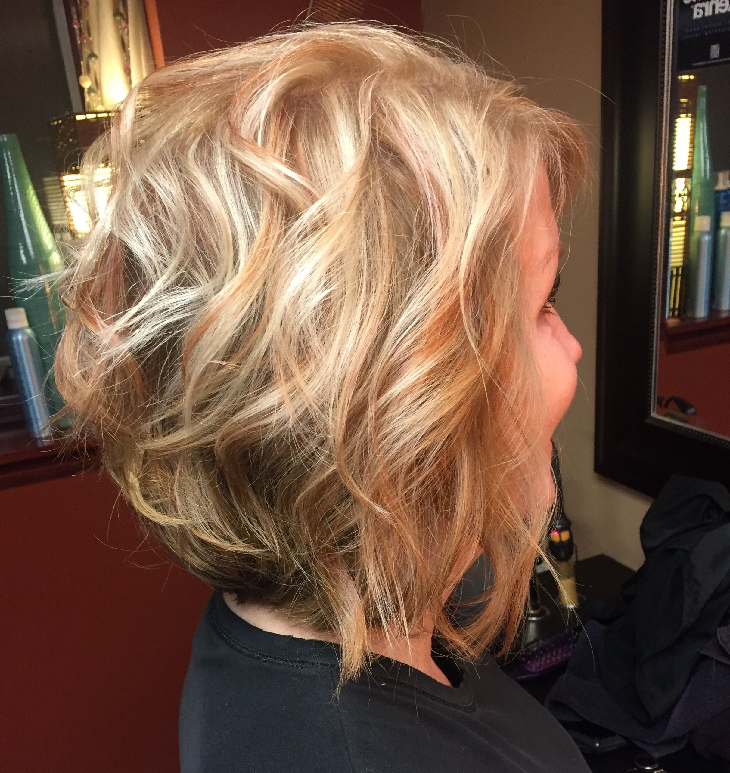Most Recently Released Messy Blonde Lob With Lowlights Pertaining To Blonde Inverted Bob With Copper Lowlights (View 15 of 20)