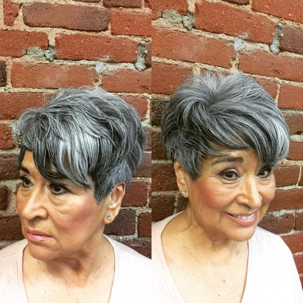 Most Recently Released Silver And Brown Pixie Hairstyles Intended For Women's Voluminous Tousled Pixie With Long Fringe Lengths And Bangs (View 6 of 20)