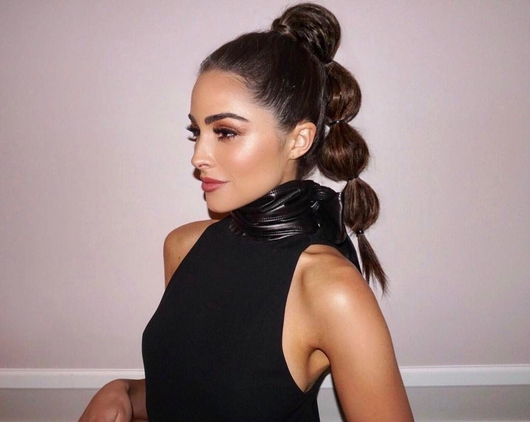 Most Recently Released Sleek Bubble Ponytail Hairstyles Throughout Olivia Culpo Bubble Ponytail Hairstyle Justine Marjan (View 7 of 20)