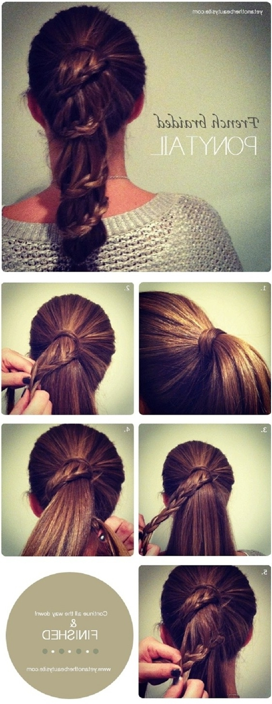 Most Recently Released Trendy Ponytail Hairstyles With French Plait Throughout 15 Cute & Easy Ponytails – Sure Champ (View 7 of 20)