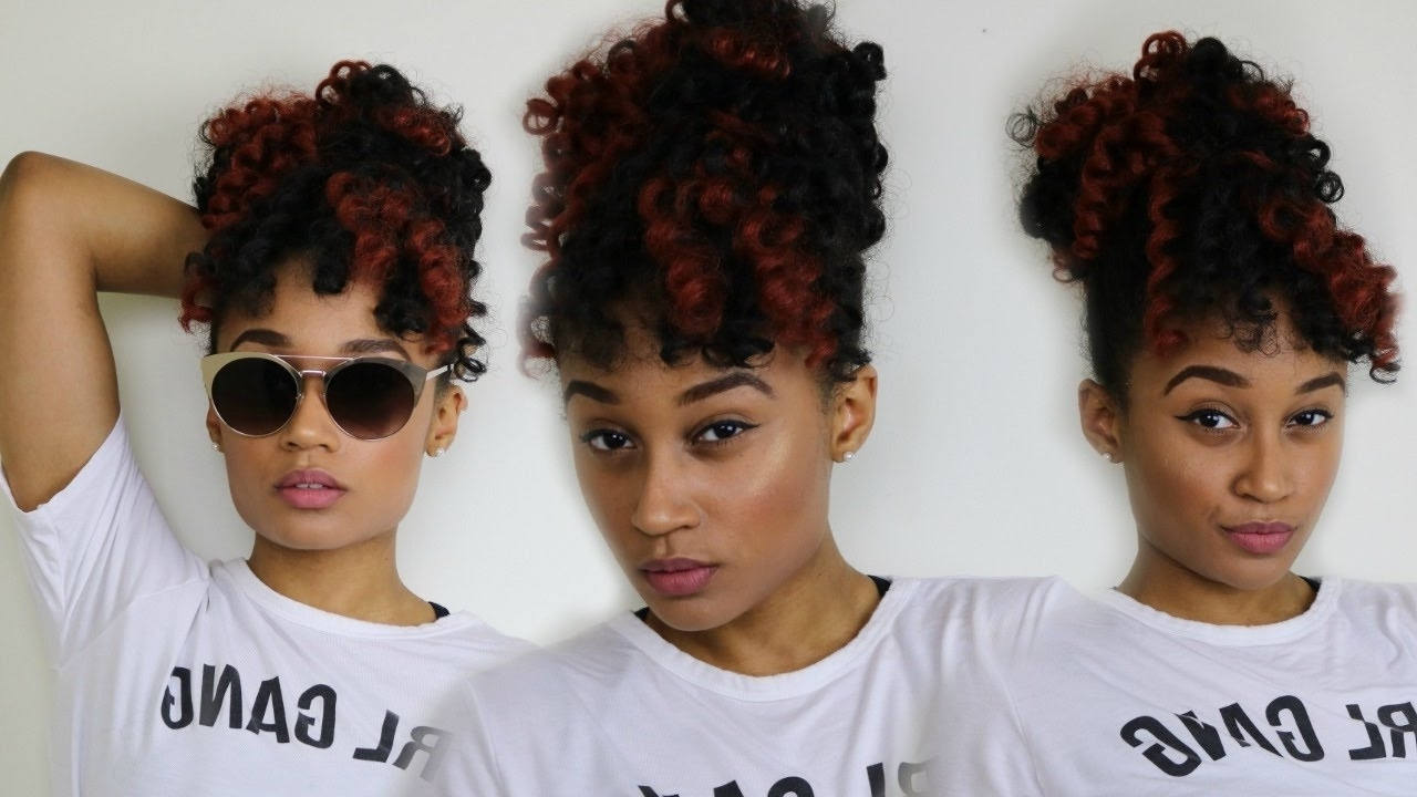 Most Up To Date Pony Hairstyles With Curled Bangs And Cornrows Regarding Braidless Crochet: High Puff With Faux Bangs (View 12 of 20)