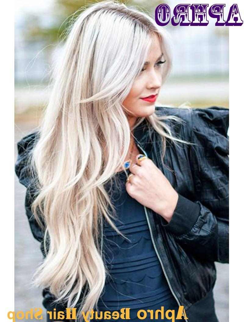 Most Up To Date Silver Blonde Straight Hairstyles Within Human Hair Silver Blonde Silk Top Full Lace Wigs With Dark Roots (View 16 of 20)