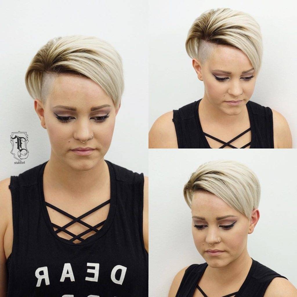 Most Up To Date Undercut Blonde Pixie Hairstyles With Dark Roots Intended For Women's Edgy Undercut Pixie With Platinum Color And Brunette Shadow (View 14 of 20)