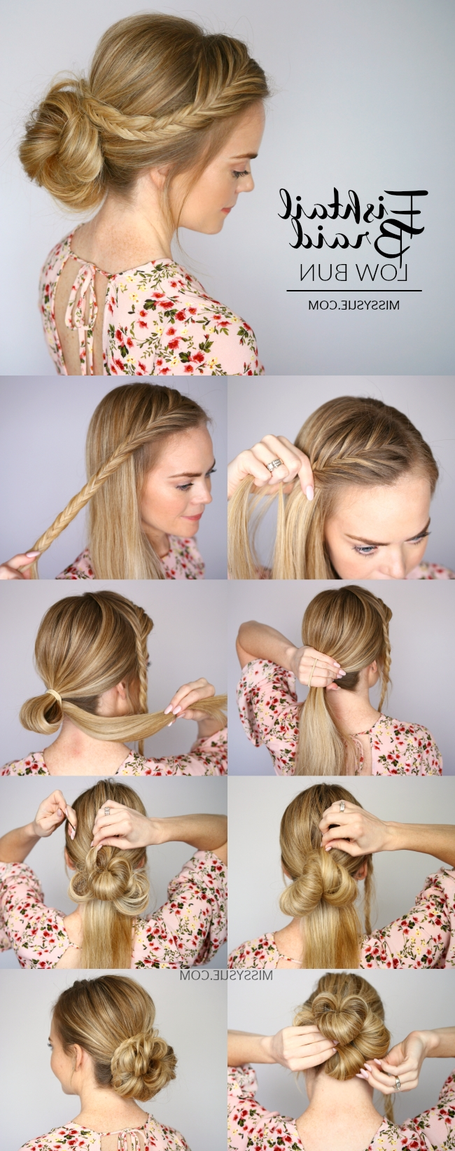 Most Up To Date Wispy Fishtail Hairstyles Inside Fishtail Braid Low Bun (View 15 of 20)