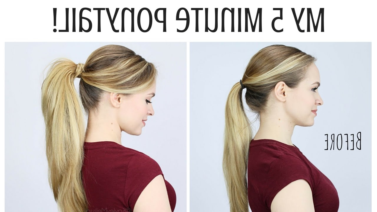My 5 Minute Ponytail Routine – Youtube Inside Latest Neat Ponytail Hairstyles With Voluminous Curls (View 12 of 20)