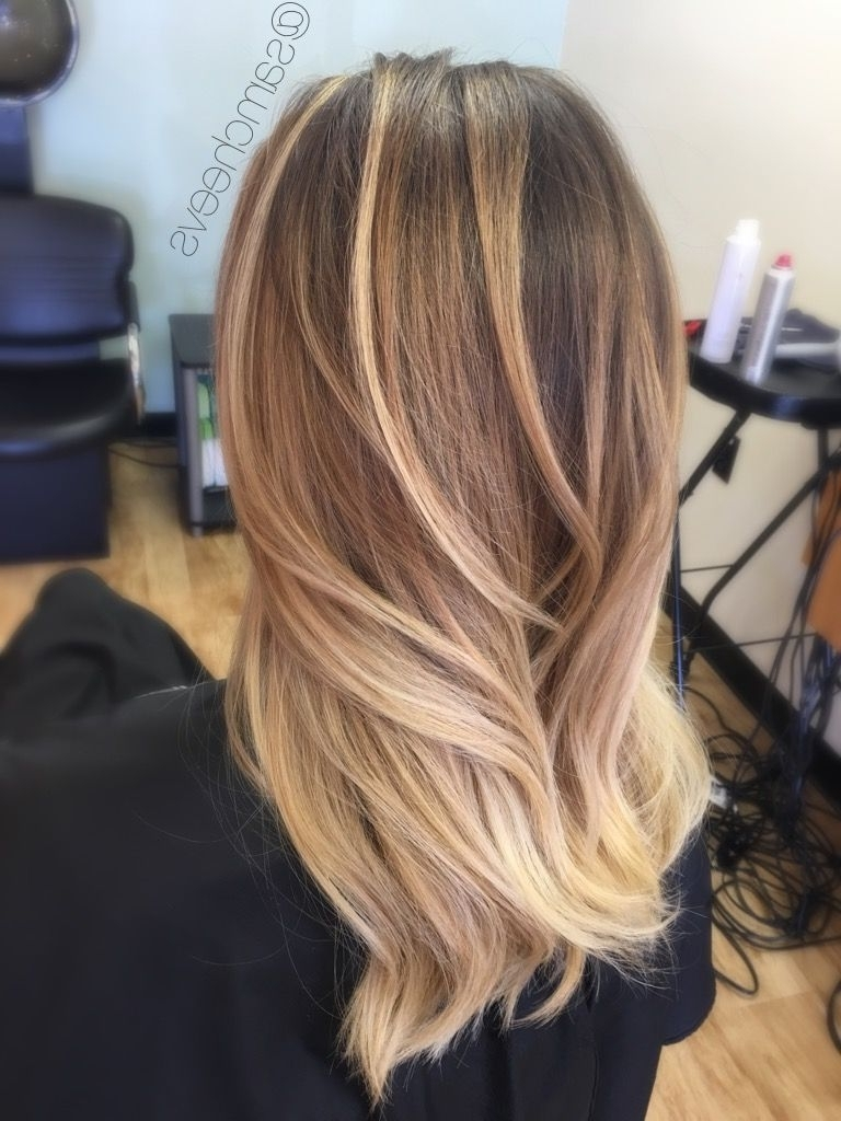 Natural Golden Honey Blonde Platinum Balayage Highlights With Dirty Throughout Popular Dirty Blonde Balayage Babylights Hairstyles (Gallery 2 of 20)