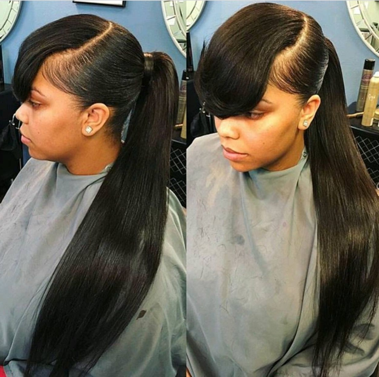 Natural Hair Growth With Regard To Current Low Black Ponytail Hairstyles With Bangs (View 4 of 20)