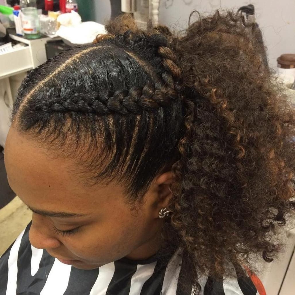 Featured Photo of Reverse French Braids Ponytail Hairstyles With Chocolate Coils