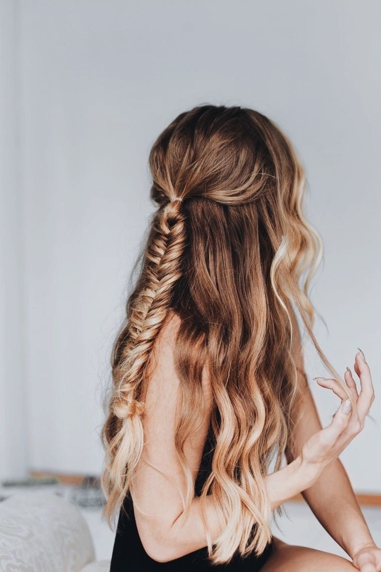 Natural Wavy Hair – Fishtail Braid – Long Hairstyles – Half Up Inside Most Recently Released Ponytail Hairstyles With Wild Wavy Ombre (View 11 of 20)