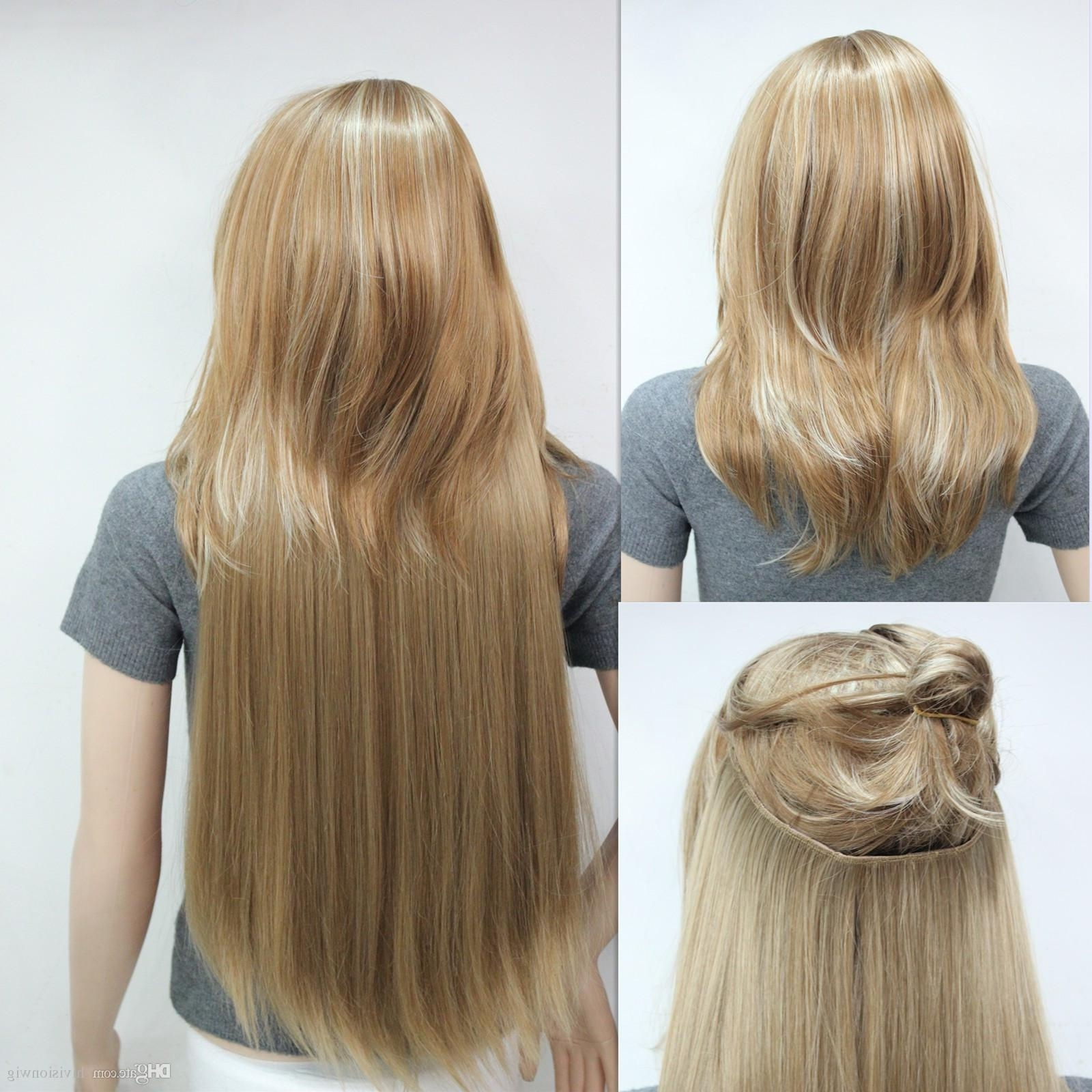 New Invisible Wire Fish Line Clip In Hair Extensions Straight Full Intended For Trendy Full And Fluffy Blonde Ponytail Hairstyles (View 16 of 20)