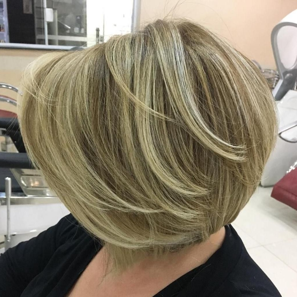 Newest Bronde Bob With Highlighted Bangs Inside 60 Most Prominent Hairstyles For Women Over  (View 14 of 20)