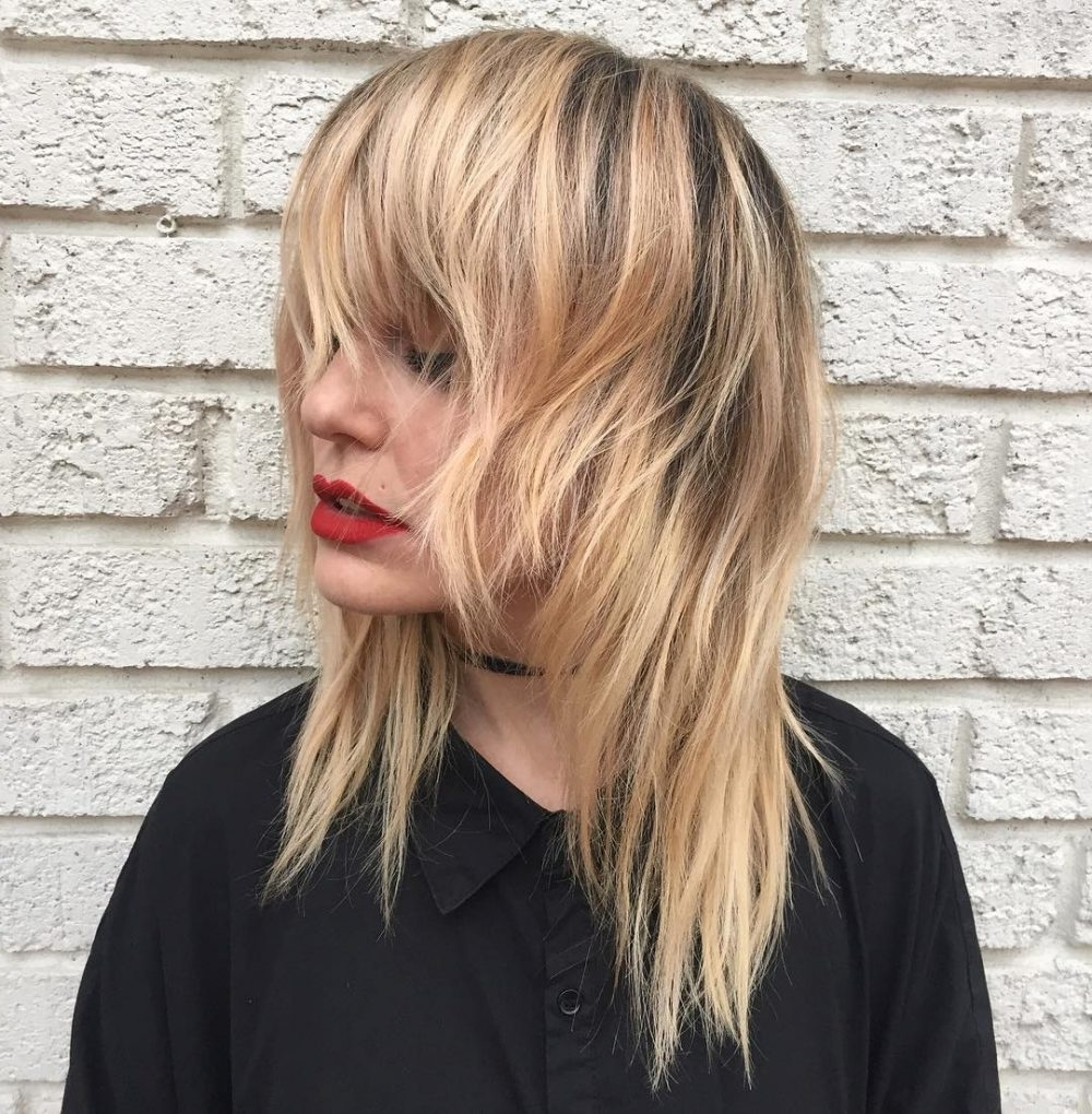 Newest Feathered Cut Blonde Hairstyles With Middle Part With Regard To 61 Chic Medium Shag Haircuts For  (View 16 of 20)