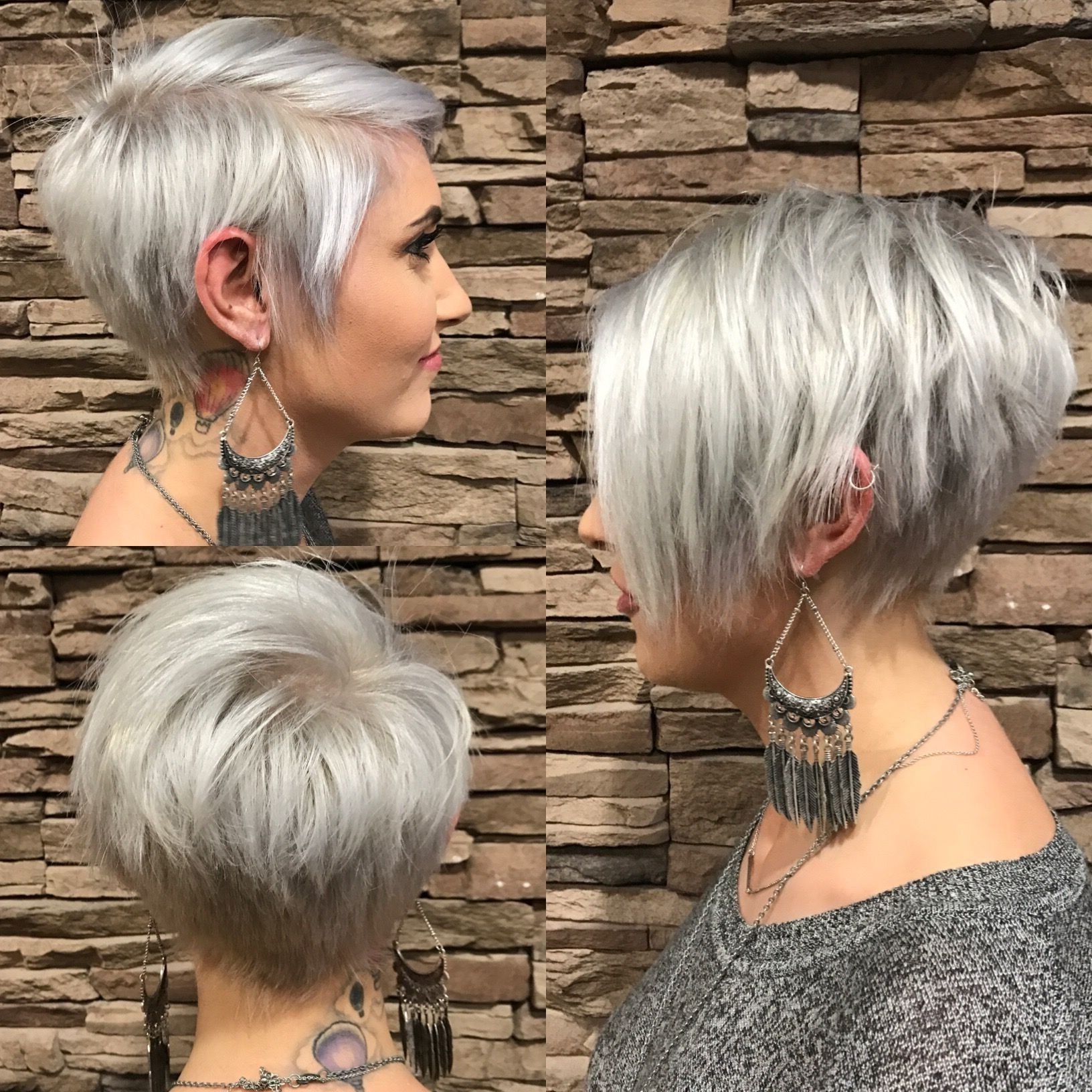 Newest Funky Blue Pixie Hairstyles With Layered Bangs Within Long Pixie With Bangs, Silver (View 13 of 20)