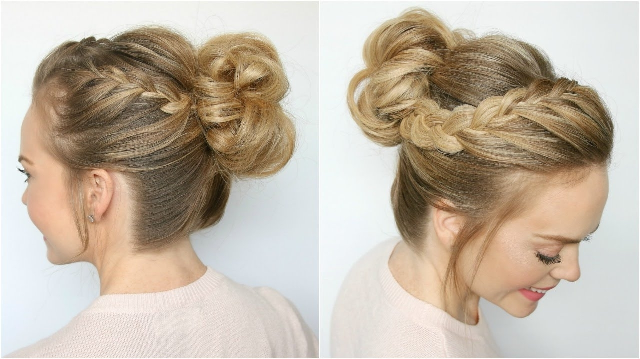 Newest Messy Pony Hairstyles With Lace Braid In Double Lace Braid High Bun (View 19 of 20)