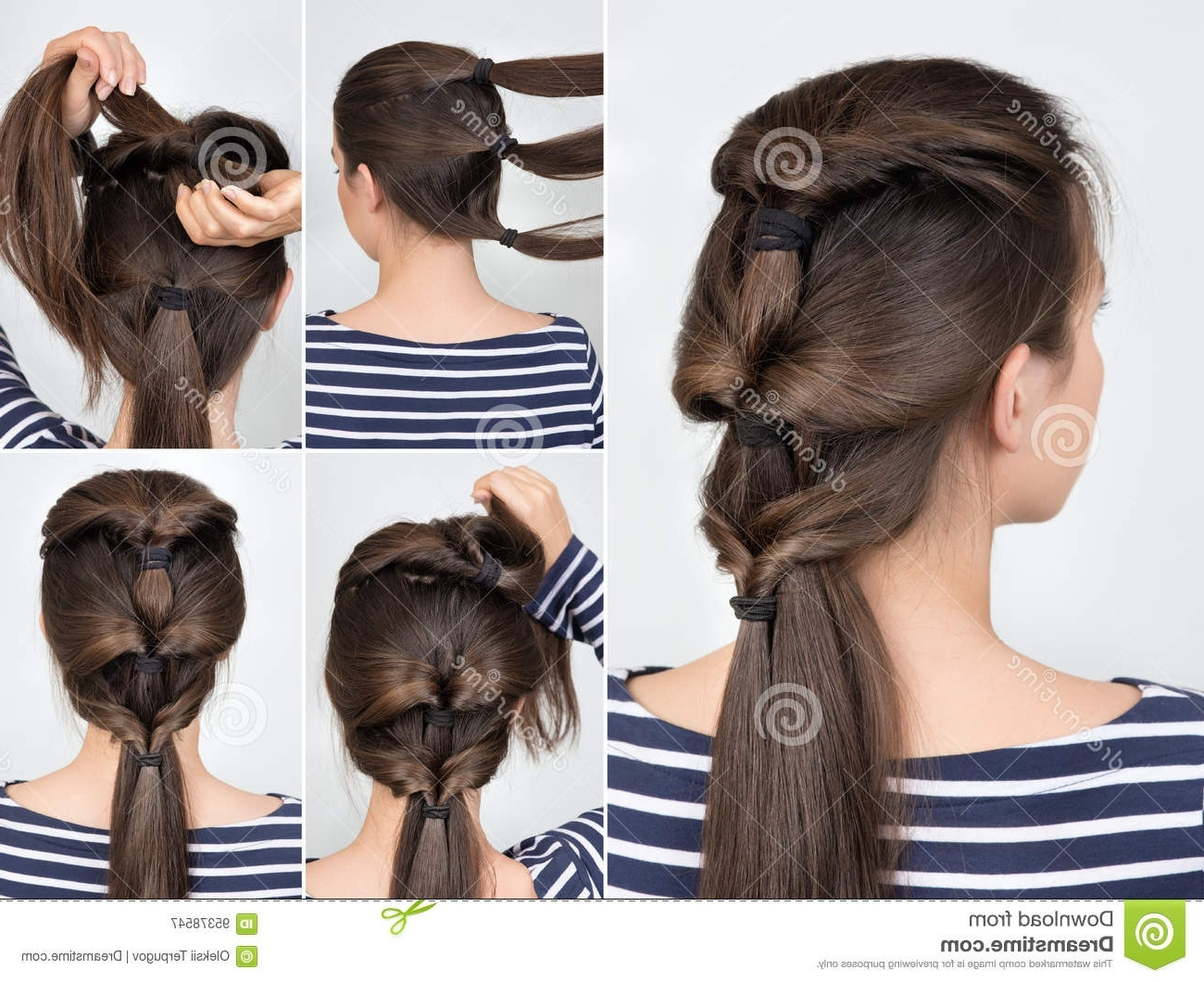 Newest Twisted Pony Hairstyles Within Hairstyle Twisted Pony Tail Tutorial Stock Image – Image Of Beauty (View 11 of 20)