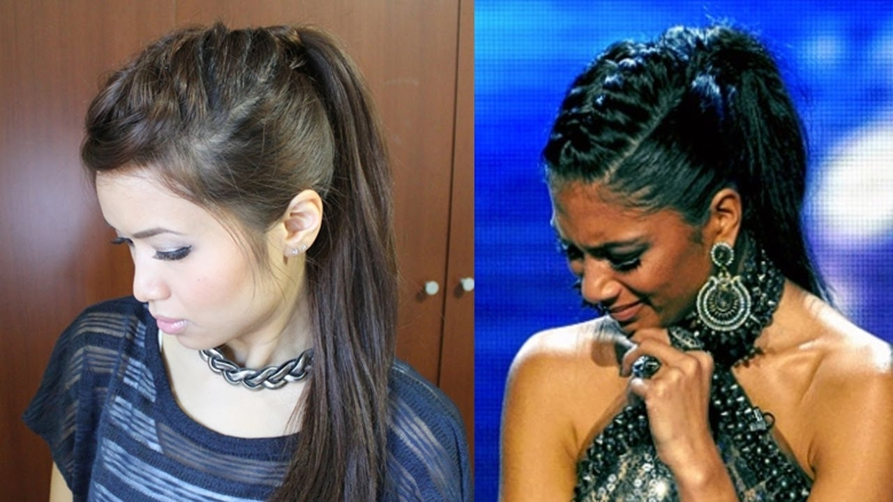 Nicole Scherzinger French Braid Edgy Ponytail Hairstyle For Medium Intended For Most Recent French Braid Hairstyles With Ponytail (View 12 of 20)