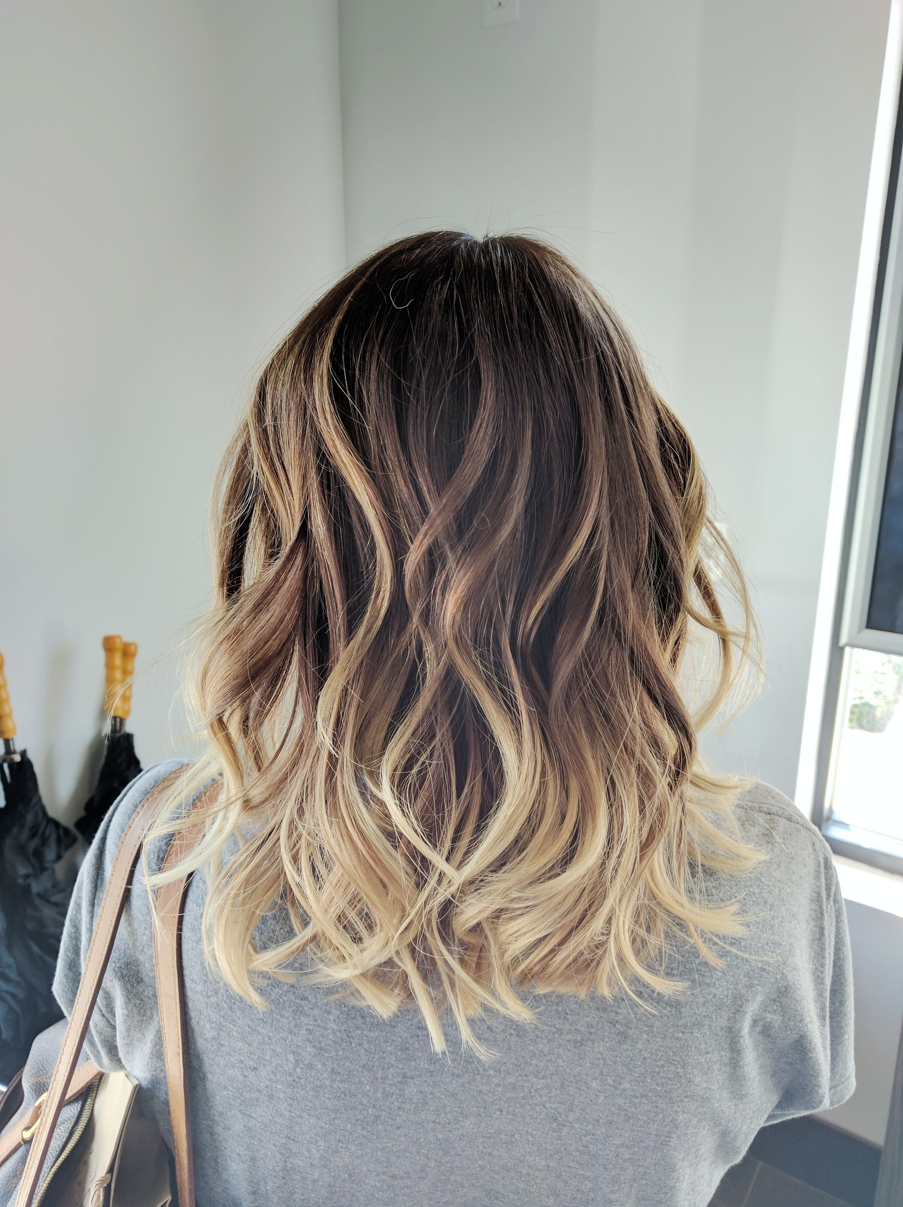 Ombre Balayage Color Melt Blonde Highlights Long Bob Medium Length Throughout Widely Used Shoulder Length Ombre Blonde Hairstyles (Gallery 6 of 20)