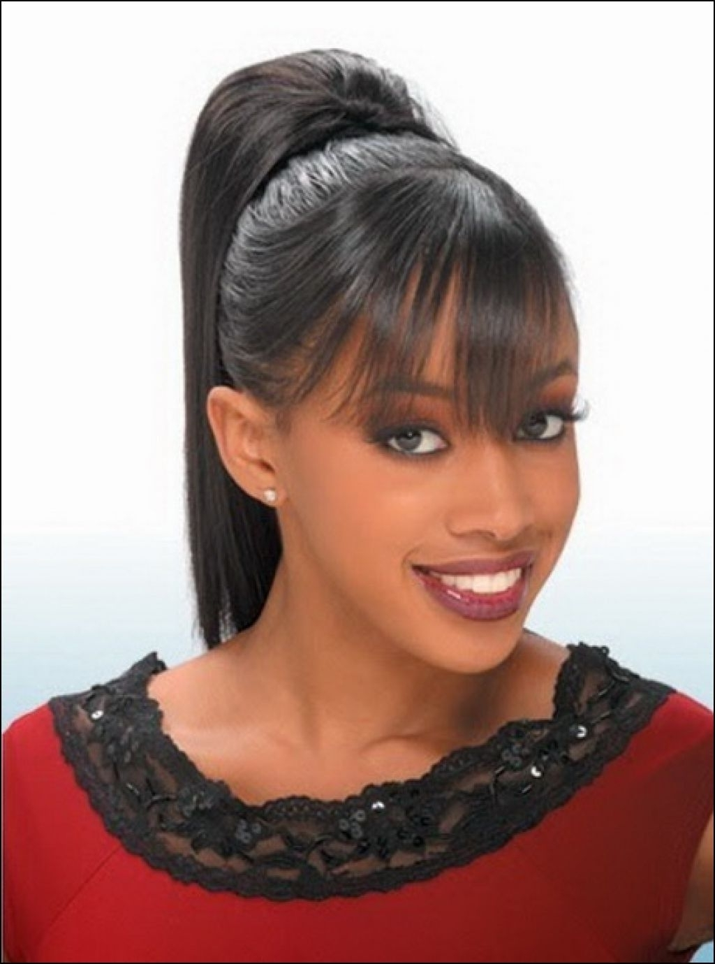 Featured Photo of High Ponytail Hairstyles With Side Bangs