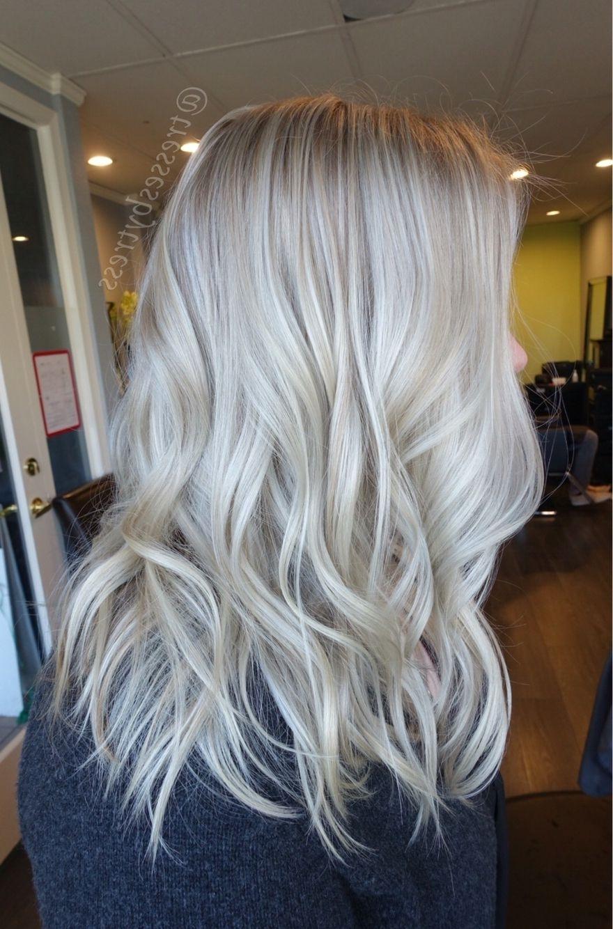 Platinum White Blonde Balayage Beach Waves (View 10 of 20)