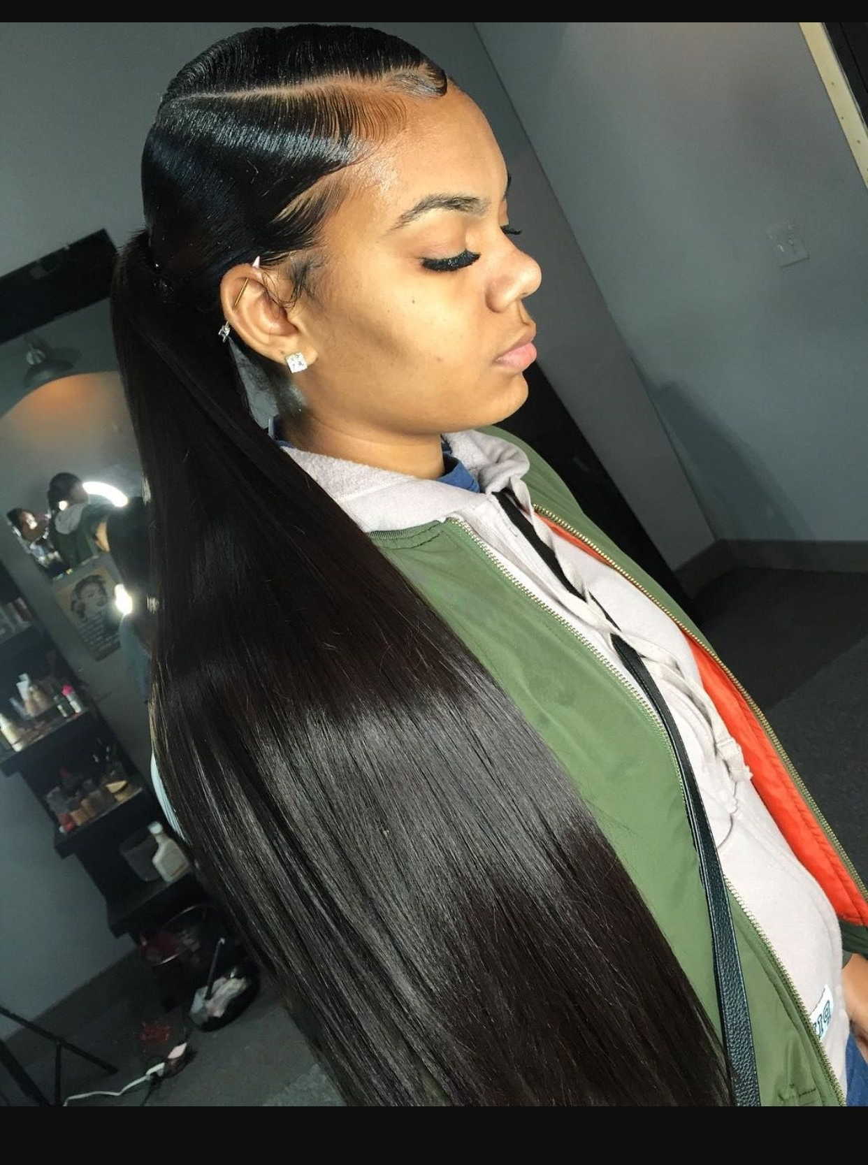 Ponytail, Black Throughout Current Sleek Straightened Black Ponytail Hairstyles (View 15 of 20)