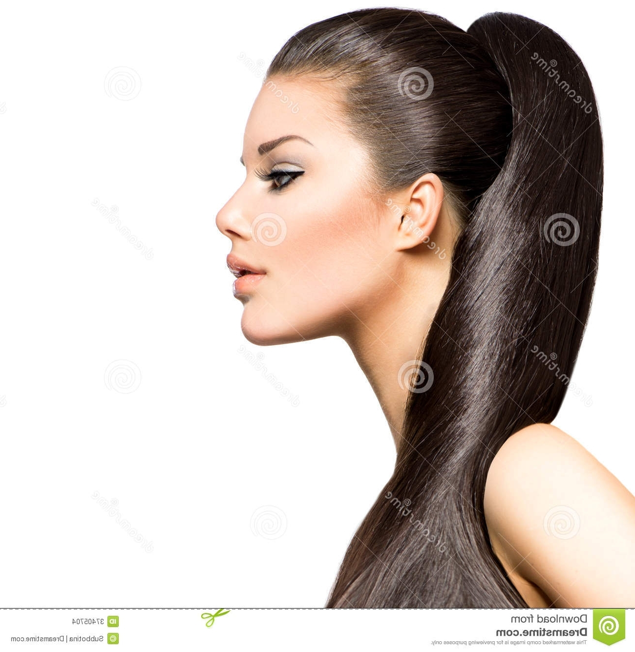 Ponytail Hairstyle Stock Photo. Image Of Look, Background – 37405704 In Preferred Ponytail Hairstyles For Brunettes (Gallery 4 of 20)