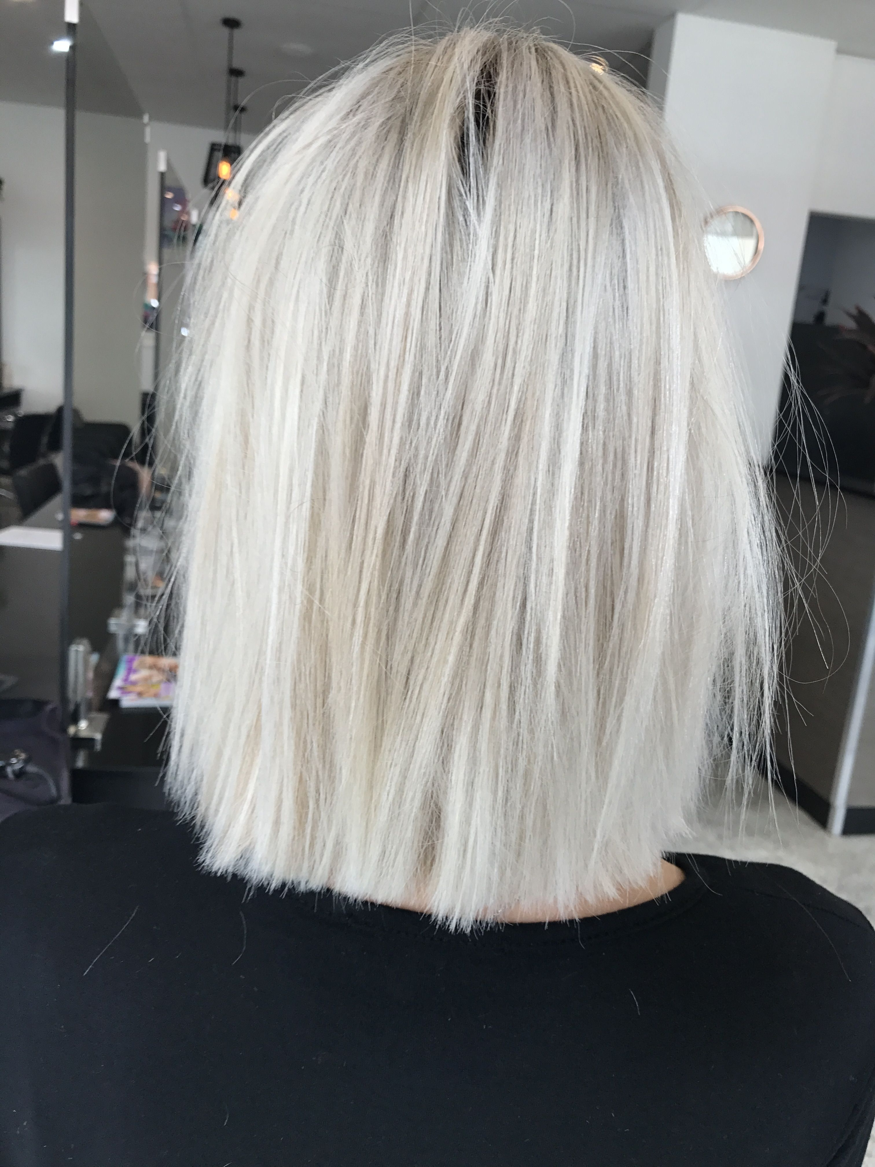 Popular Ash Blonde Lob With Subtle Waves In Blonde Hair Short Lob Textured Straight Hair Cut Colour Cool Ash (View 14 of 20)