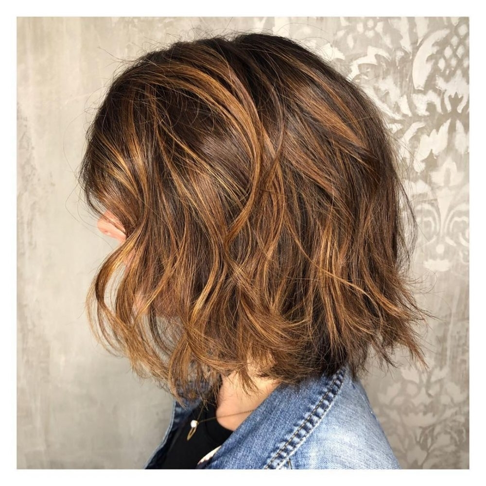 Popular Caramel Blonde Lob With Bangs Within 31 Most Delectable Caramel Highlights You'll See In (View 15 of 20)