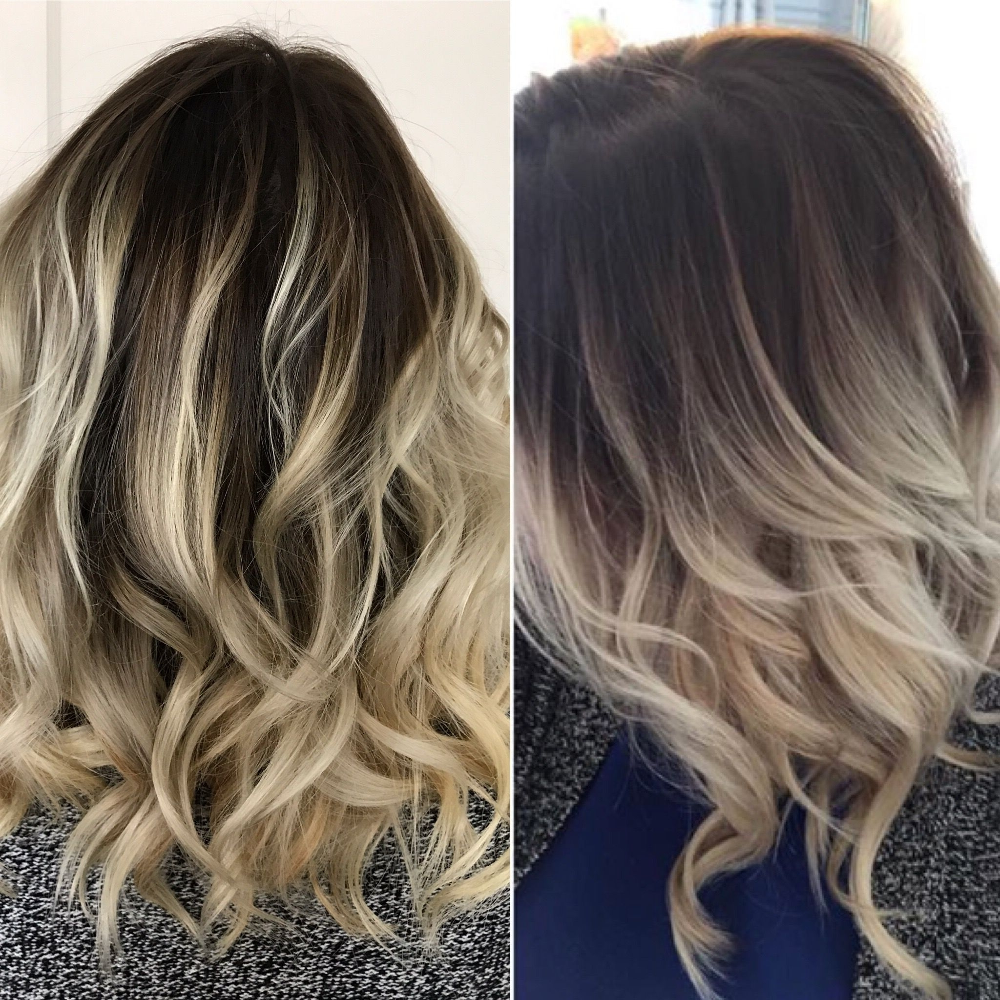 Popular Dark And Light Contrasting Blonde Lob Hairstyles For Rooted Balayage Blonde. Ash Blonde Hair Dark Roots (View 19 of 20)