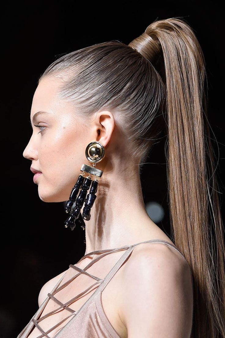 Popular Fancy Sleek And Polished Pony Hairstyles Regarding Runway Looks: Best Ponytail Hairstyles – New Hairstyles 2017 For (View 7 of 20)